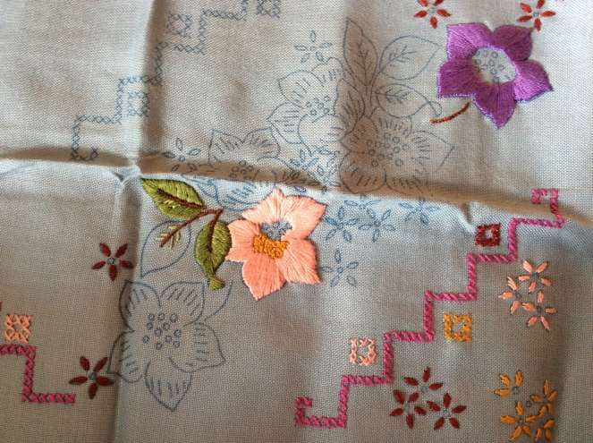 early sewing tablecloth