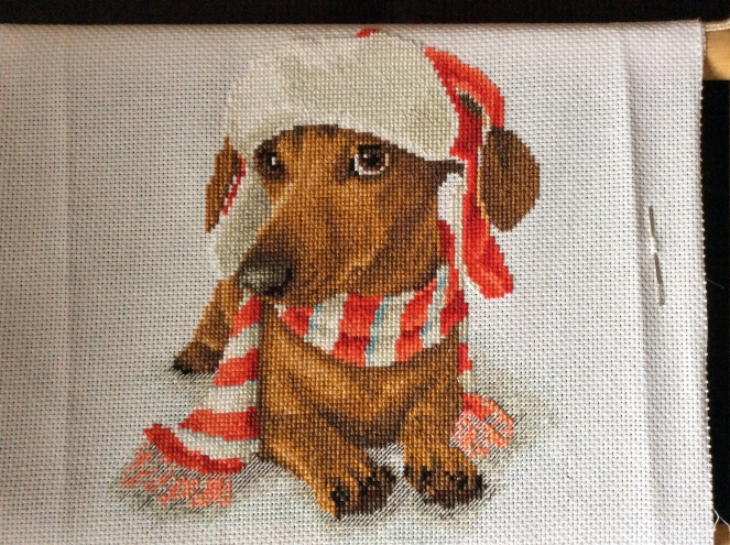 dachshund backstitched